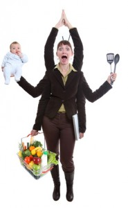 woman juggling work and family